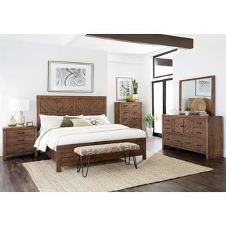 Archer Mojave Brown 5-piece Panel Bedroom Set with 2 Nightstands