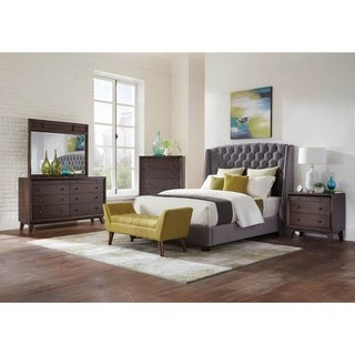 Braemar Cappuccino and Brown Oak 4-piece Tufted Panel Bedroom Set