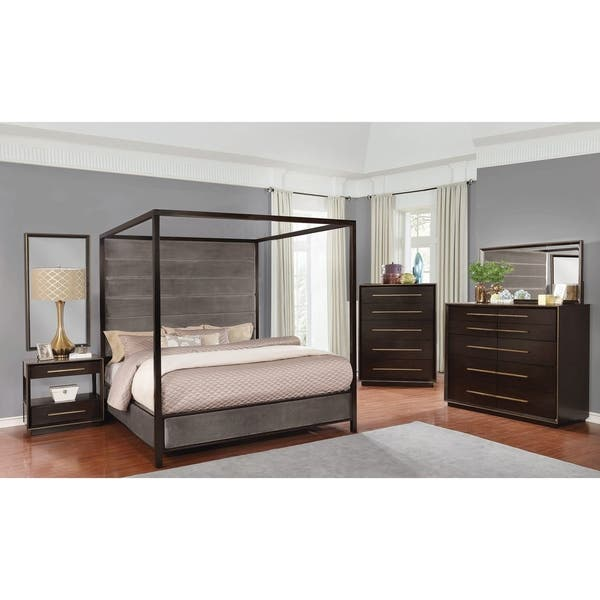 Shop Hanover Grey and Smoked Peppercorn 6-piece Canopy Bedroom Set ...