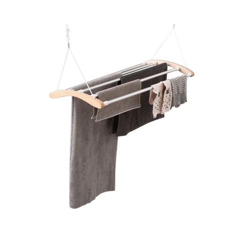 INNOKA Birch Wood Extendable Ceiling Clothes Drying Rack Garment Dryer with 5 Aluminum Bars - Space Saving, Maximum Load 9KG