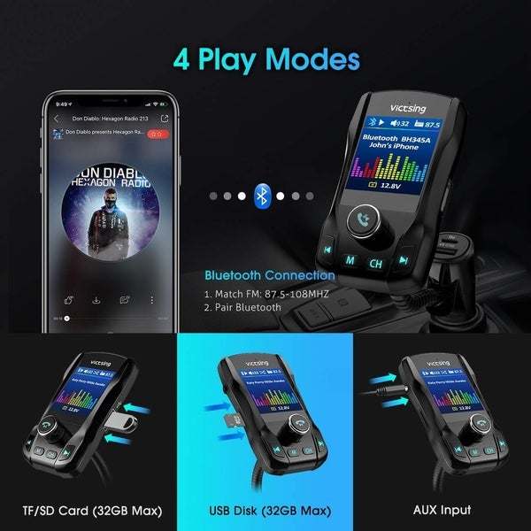 "VicTsing Car Bluetooth FM Transmitter 1.8/"" Color Screen MP3 Player AUX USA Sale"