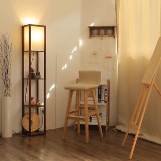 CO-Z 63-inch Modern LED Etagere Floor Lamp with 3 Wood Storage Shelves
