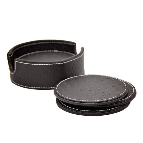 American Atelier Black Ostrich Faux Leather Coaster Set of 6 with Caddy Great for Parties, Protect Furniture and Tables
