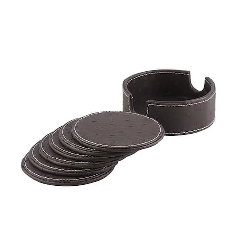 American Atelier Dark Brown Ostrich Faux Leather Coaster Set of 6 with Caddy Great for Parties, Protect Furniture and Tables