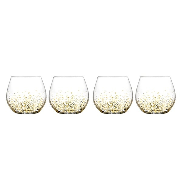 bfba0ca70ea Fitz & Floyd Luster Gold Balloon Stemless Wine Glasses Set of 4