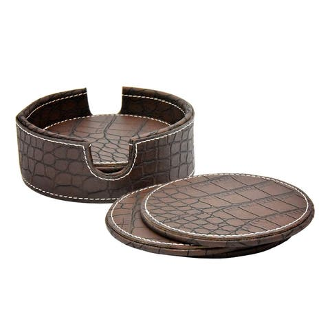 American Atelier Dark Brown Crocodile Faux Leather Coaster Set of 6 with Caddy Great for Parties, Protect Furniture and Tables