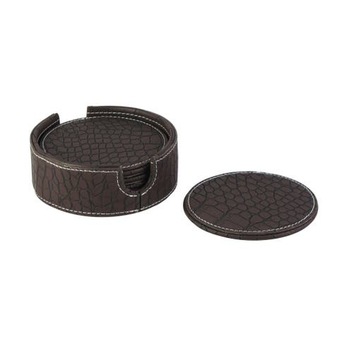 American Atelier Black Crocodile Faux Leather Coaster Set of 6 with Caddy Great for Parties, Protect Furniture and Tables