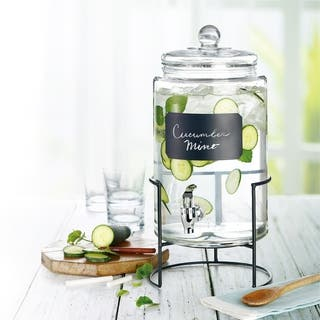 Style Setter Artesia Glass Beverage Dispenser with Metal Stand Cold Drink Wine Juice Great for Parties, Weddings and More