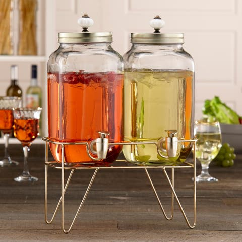 Style Setter Julian Double Glass Beverage Dispenser with Gold Wire Stand Water Wine Juice Great for Parties, Weddings and More