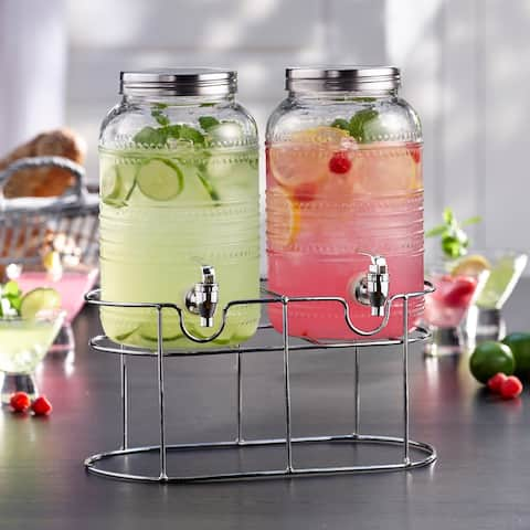 Style Setter Liam Double Beaded Glass Beverage Dispenser with Stand Water Wine Juice Great for Parties, Weddings and More