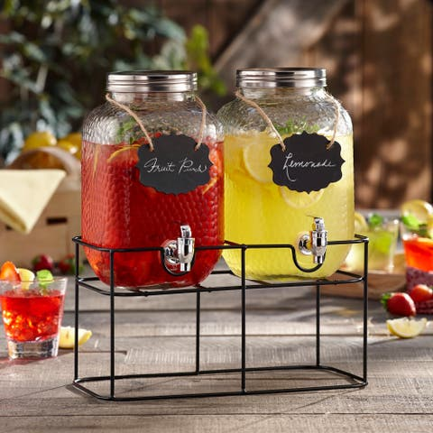 Style Setter Jacob Double Hammered Glass Beverage Dispenser with Chalkboard and Stand Great for Parties, Weddings and More
