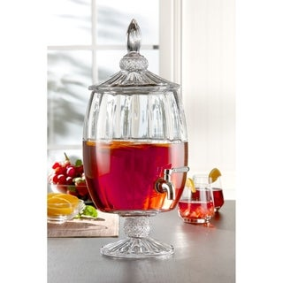 Fifth Avenue Madison Optic Glass Beverage Dispenser Cold Drink Wine Juice Great for Parties, Entertainment, Weddings and More