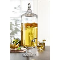Fifth Avenue Westchester Optic Glass Beverage Dispenser Cold Drink Wine Juice For Parties, Entertainment, Weddings and More