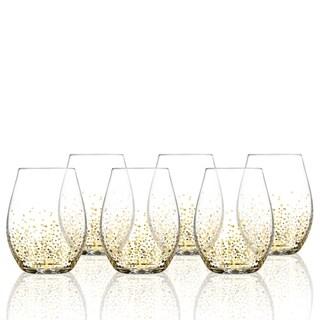 Fitz & Floyd Gold Luster Stemless Wine Glasses Set of 6