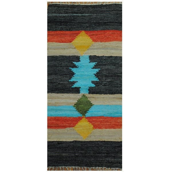 Handmade One-of-a-Kind Wool Kilim (India) - 2' x 4'3
