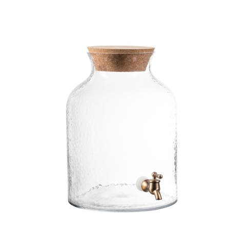 Style Setter Hammered Glass Beverage Dispenser with Cork Lid Cold Drink Wine Juice Great for Parties, Weddings and More