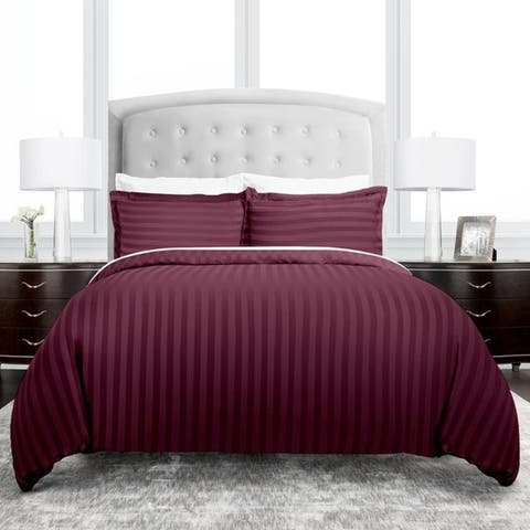 Hotel Collection Dobby Striped 3 Piece Duvet Cover Set