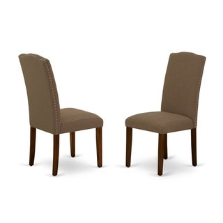 East West Furniture ENP3T18 Encinal Parson Chair with Mahogany Leg and Linen Fabric Dark Coffee, Set of 2