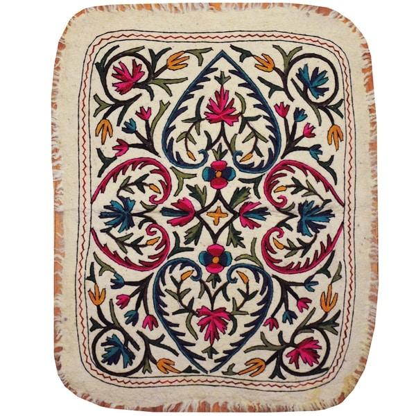 Handmade One-of-a-Kind Suzani Namad (Uzbekistan) - 3' x 4'