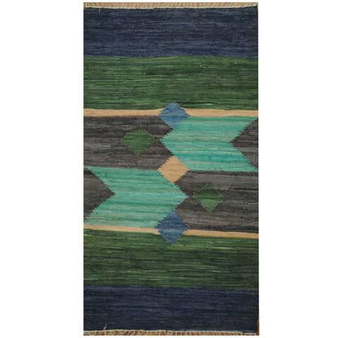 Handmade Herat Oriental Indo Hand-woven Wool Kilim (3' x 5'2) - 3' x 5'5