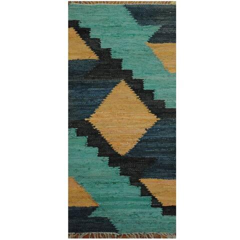 Handmade Wool Kilim (India) - 2' x 4'3