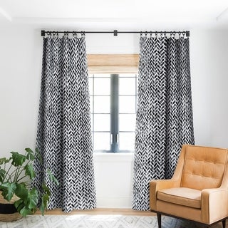 Link to Little Arrow Design Co Arcadia Herringbone in Black Blackout Curtain Panel 84 Inches (As Is Item) Similar Items in As Is