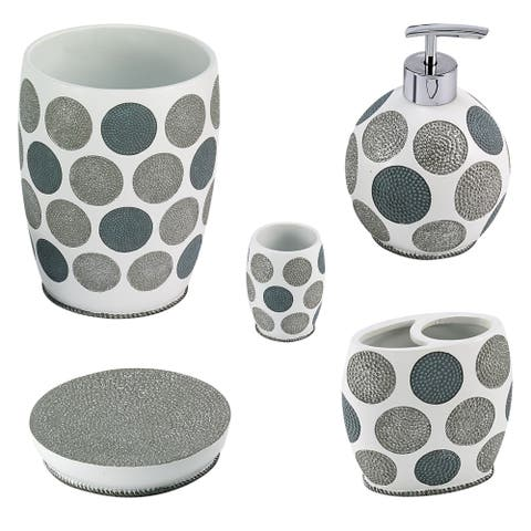 Dotted Circles 5 Piece Bath Accessory Set