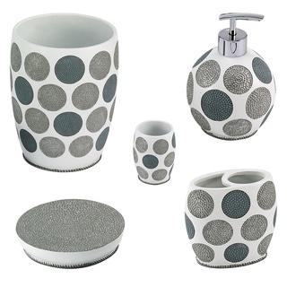 Dotted Circles 5 Piece Bath Accessory Set