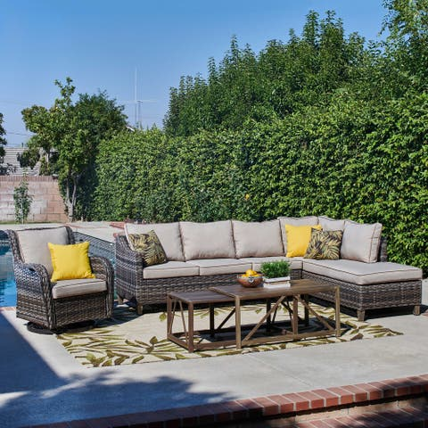 Dahlia 5 Piece Outdoor Wicker Seating Group, Light Brown/Beige