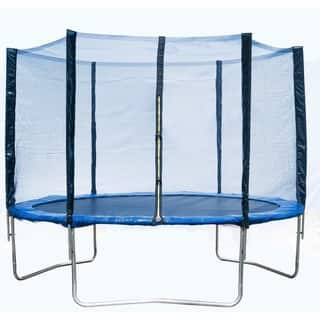 Homebeyond 10-Foot Round Kids Trampoline Combo Enclosure Safety Net with Jumping Mat Spring Pad Wind Stakes and Pull T-Hook
