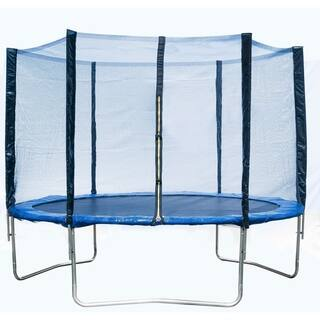 Homebeyond Trampoline Blue 10 Foot Round Outdoor Trampoline with Enclosure Safety Net
