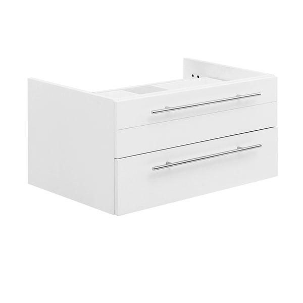 "Fresca Lucera 30"" White Wall Hung Vessel Sink Modern Bathroom Cabinet"