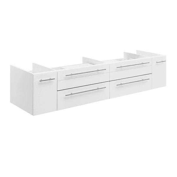 "Fresca Lucera 72"" White Wall Hung Double Vessel Sink Modern Bathroom Cabinet"