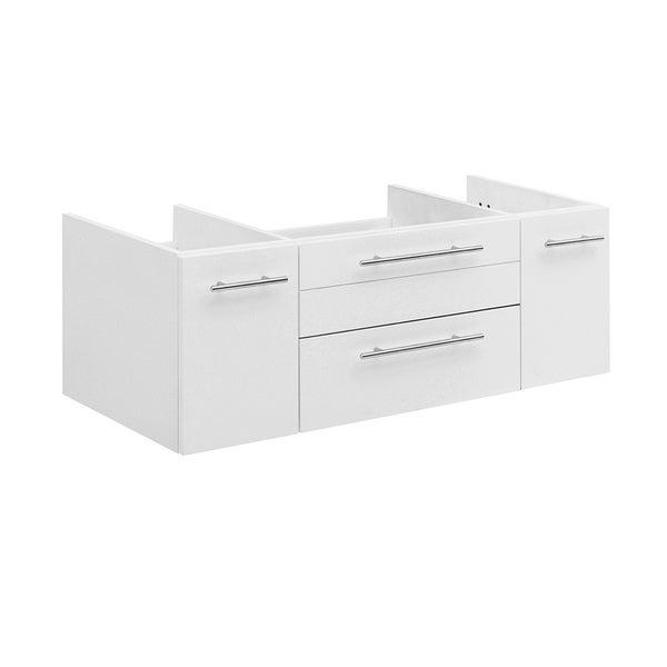 "Fresca Lucera 42"" White Wall Hung Undermount Sink Modern Bathroom Cabinet"