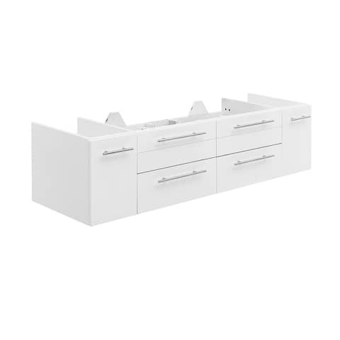 "Fresca Lucera 60"" White Wall Hung Single Undermount Sink Modern Bathroom Cabinet"