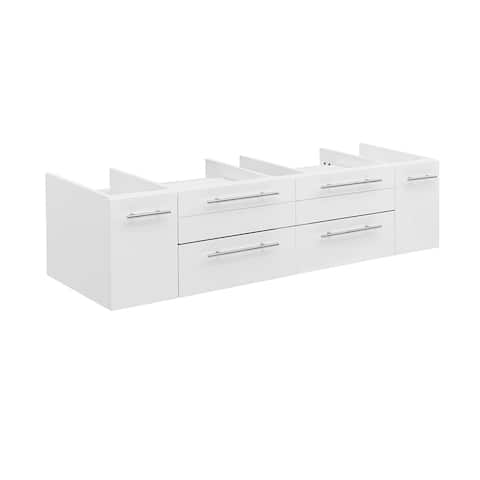 "Fresca Lucera 60"" White Wall Hung Single Vessel Sink Modern Bathroom Cabinet"
