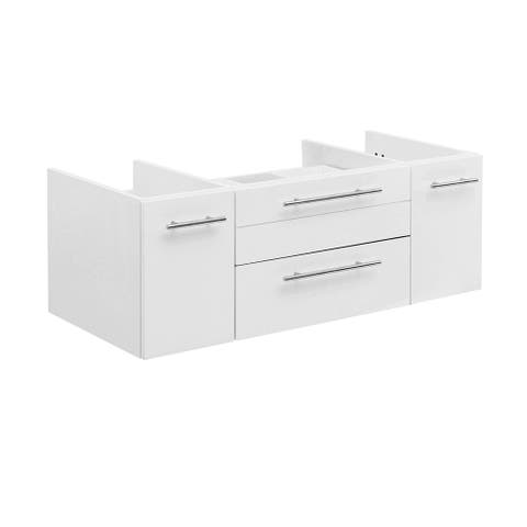 "Fresca Lucera 42"" White Wall Hung Vessel Sink Modern Bathroom Cabinet"