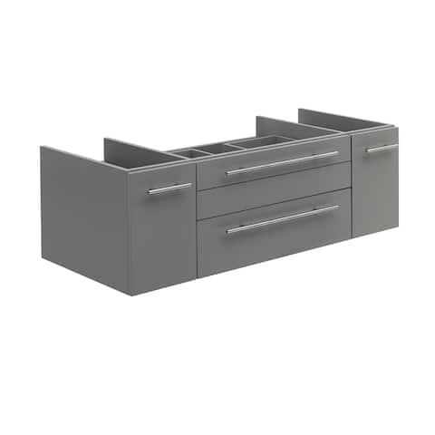 "Fresca Lucera 48"" Gray Wall Hung Vessel Sink Modern Bathroom Cabinet"
