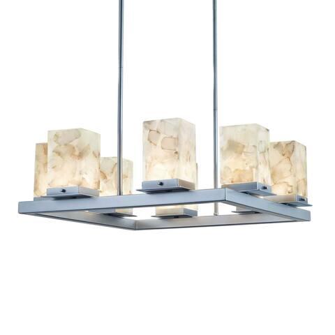 Copper Grove Venlo 8-light Brushed Nickel Outdoor LED Chandelier with Shaved Alabaster Shades