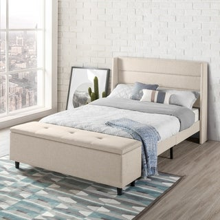 Modern Upholstered Platform Beds with Headboard and Bedside Storage Ottoman (No Box Spring Needed - Beige) - Crown Comfort