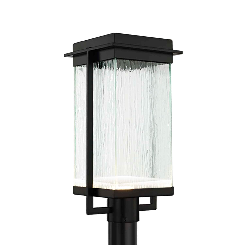 Shop Justice Design Fusion Pacific 1 Light Matte Black Led Outdoor Post Light Rain Shade Overstock 28376522