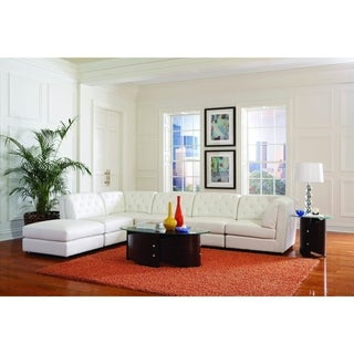 """Quinn Tufted 6-Piece Transitional Sectional Set, White - 142"""" x 109"""" x 32"""""""