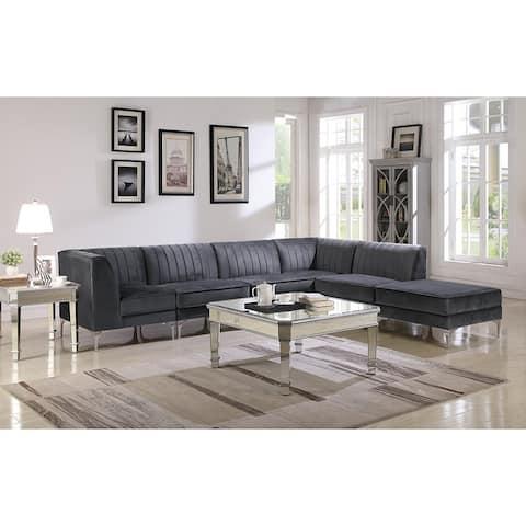 Cassandra 6-Piece Contemporary Sectional, Grey