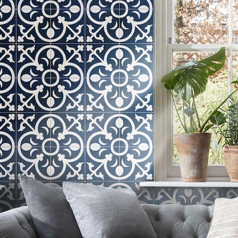 Handmade Nador in Navy Blue, White Tile, Pack of 12 (Morocco)