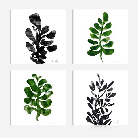 "Botanical Plant Prints Giclee Print Canvas Wall Art,Set of 4(16x16"") - 16 x 16"