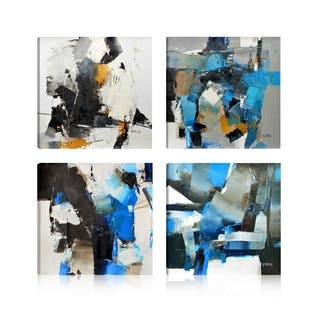 Abstract Power strokes I Giclee Print Canvas Wall Art,Set of 4, - 16 x 16