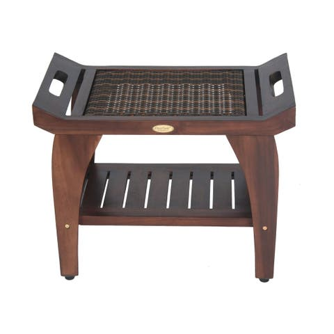"24"" DecoTeak Tranquility Solid Teak Shower Bench with Storage Shelf Fused Rattan Accents- EarthyTeak Finish"