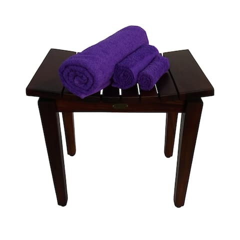 Copper Grove Akkula 20-inch Brown Solid Teak Shower Bench with Curved Seating