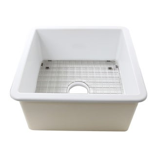 Highpoint Collection 16 Inch Square Fine Fireclay Kitchen Prep or Bar Sink - 18 x 18 x8.5 inches