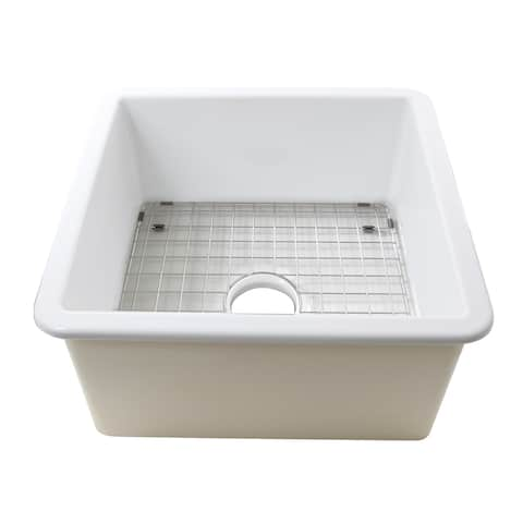 Highpoint Collection 16 Inch Square Fireclay Kitchen Prep or Bar Sink - 18 x 18 x8.5 inches